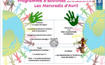Planning des mercredis d'Avril 2021 – Enfance