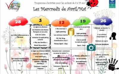 Planning des mercredis d'avril – Mai 2021 – Enfance